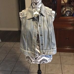 Chico's Cropped denim vest with crochet back